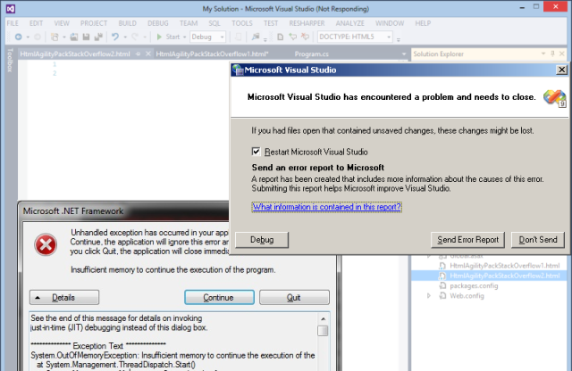 Visual Studio with ReSharper is freezing and/or crashing